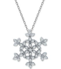 """cubic zirconia snowflake 18"""" pendant necklace in sterling silver"""