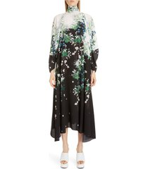 women's givenchy floral print long sleeve crepe midi dress