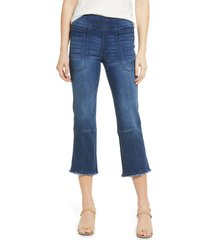 women's wit & wisdom ab-solution kick flare frayed jeans, size 10 - blue (nordstrom exclusive)