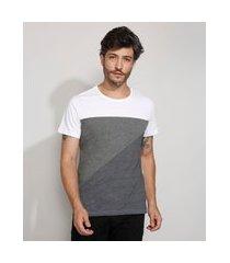 camiseta masculina slim manga curta com recortes gola careca branca