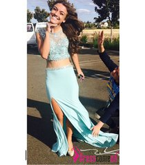 2015 new sexy 2 pieces blue prom dress with scoop cap sleeves slit evening gown