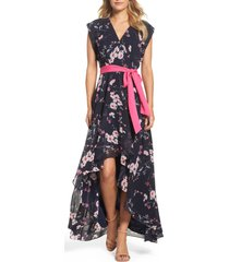 women's eliza j high/low floral faux wrap maxi dress