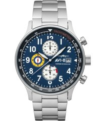 avi-8 men's hawker hurricane classic chronograph panda blue with silver tone solid stainless steel bracelet watch, 42mm