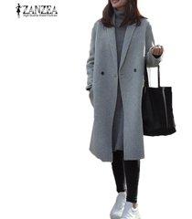 zanzea mujeres gira el collar abajo de manga larga con bolsillos y botones de la manera ol gris mezcla de lana chaqueta de abrigo de invierno cálido abrigo largo s-5xl -gris