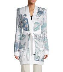 balmain women's belted logo-jacquard cardigan - white multi - size 38 (6)