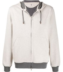 brunello cucinelli relaxed-fit contrasting-hem hoodie - black