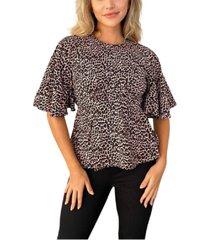 ax paris leopard print flared blouse