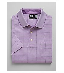 traveler collection traditional fit windowpane plaid short-sleeve men's polo shirt - big & tall