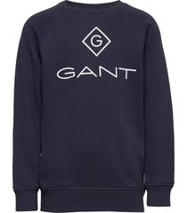 d1. lock up stripe c-neck sweat sweat-shirt trui blauw gant