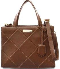 bolsa feminina maria verônica quadrada matelassê conhaque marrom