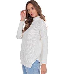 blusa myah catharine branco gola alta em tricô