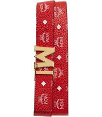 men's mcm visetos reversible belt, size one size - white logo viva red