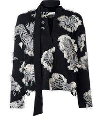 palm jacquard silk blend blouse