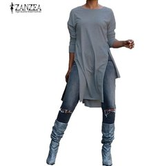 zanzea otoño de las señoras de cuello redondo liso de split largo tapas ocasionales de la camisa de la blusa pullover -gris