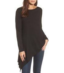women's halogen boatneck asymmetrical tunic, size x-large - black