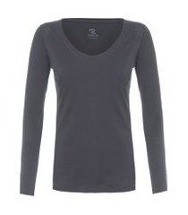 t-shirt feminina pima berlima decote u - cinza