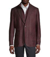 robert graham men's downhill virgin wool & cashmere blazer - bordeaux - size 44