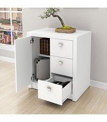 armário para escritório baixo 1 porta 3 gavetas me4111 branco - tecno mobili