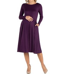 24seven comfort apparel midi length fit and flare pocket maternity dress