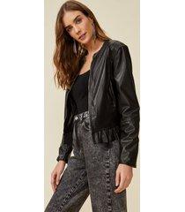 amaro feminino jaqueta leather babado barra, preto