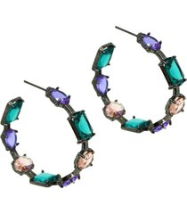brinco infine argola multicolorida cristais violeta, pãªssego e verde turmalina - grafite - feminino - dafiti