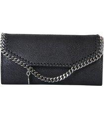 stella mccartney designer wallets, black flap top falabella wallet