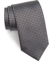 men's david donahue geometric dot silk tie, size regular - black