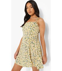 petite bloemenpatroon mini jurk met ceintuur, yellow
