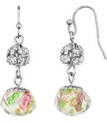 2028 silver tone crystal pink flower beaded drop wire earring