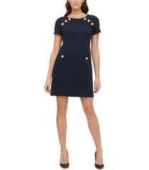 tommy hilfiger petite pique button-detail sheath dress