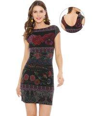 vestido desigual monroe multicolor - calce ajustado