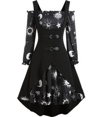 sun moon star print dress and buckle high low vest