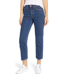 women's levi's wedgie high waist ankle straight leg jeans, size 23 x 26 - blue