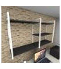 prateleira industrial para escritório aço branco prateleiras 30cm preto modelo indb14pes