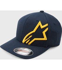 gorra azul navy-dorado alpinestars shift 2 flexfit