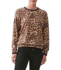 women's michael stars tate animal print sweater, size x-large - brown