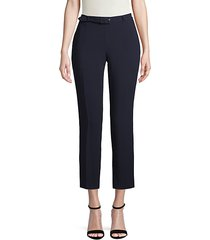 belted flat-front pants