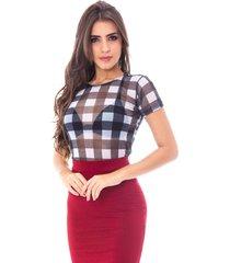 blusa moda vicio manga curta tule xadrez