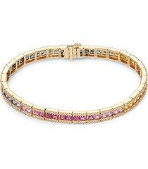 14k yellow gold, multicolor sapphire & diamond tennis bracelet