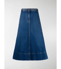 valentino braided-waist denim midi skirt