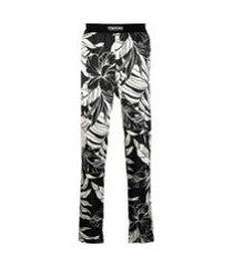 tom ford calça de pijama com estampa floral de seda - preto