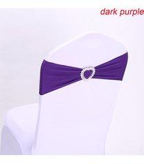 presidente 10pcs la silla del estiramiento elástico spandex banda banda del corazón hebilla de decoración de la boda - púrpura