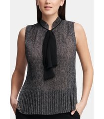 dkny petite printed pleated tie-neck blouse, created for macy's