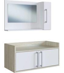 conjunto de balcã£o e espelheira p/ banheiro baldo branco/nogal e estilare mã³veis - branco - dafiti
