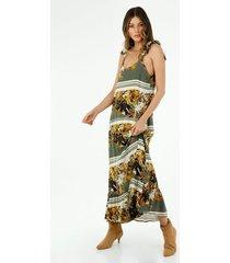 vestido  para mujer topmark, vestidos larga estampado flores beige fondo café