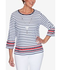 alfred dunner women's missy anchor's away border stripe top with necklace