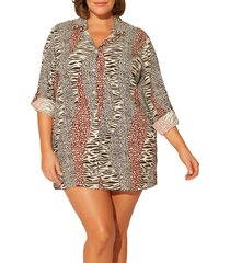 plus size women's bleu by rod beattie some like it hot cover-up shirt, size 2x - beige