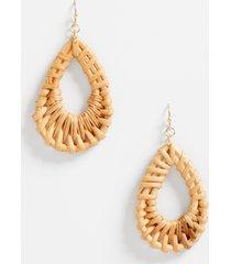maurices womens wooden teardrop earrings beige
