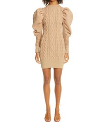 women's isa boulder long sleeve mesh back cable knit sweater dress