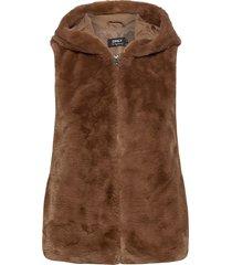 onlmalou faux fur waistcoat cc otw vests padded vests brun only